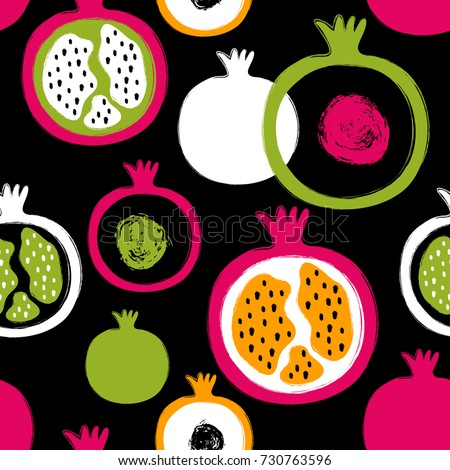 Abstract bright colorful pomegranate seamless pattern. Hand drawn brush grunge garnet fruit background.