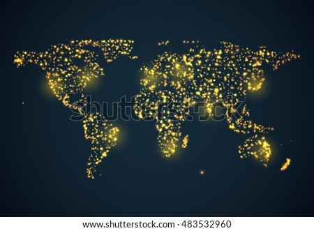 abstract bright glowing map on
