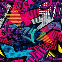 Abstract bright graffiti pattern. With bricks, paint drips, words in graffiti style. Graphic urban design for textiles, sportswear, prints.