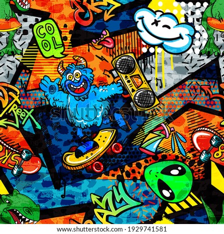 Abstract bright graffiti pattern. With dino, monsters, bricks, paint drips, words in graffiti style. Graphic urban design for textiles, sportswear, prints.