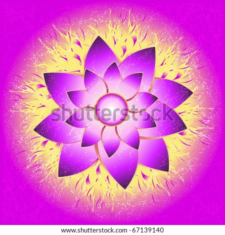 Abstract bright purple flower on a yellow purple background, vector illustration, eps10