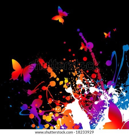 Abstract bright rainbow background with ink and butterflys