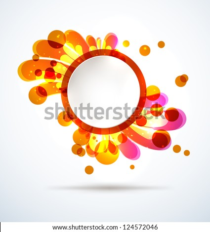 Abstract bright splash with a round placeholder. EPS10 vector.