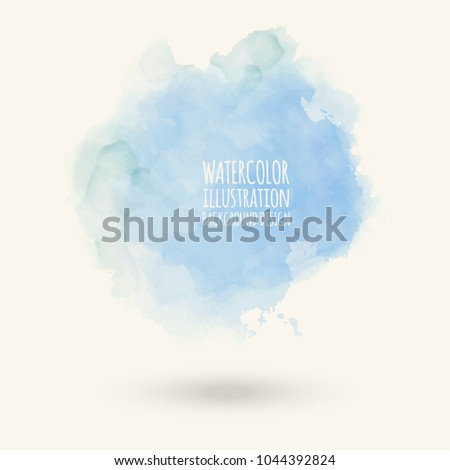 Abstract bright watercolor blob on white background. The color splashing in the paper. Hand drawn. Vector illustration.