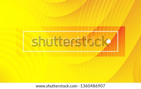Abstract bright yellow wavy geometric vector background. Wavy shapes with shadow. Paper cut style. Text frame