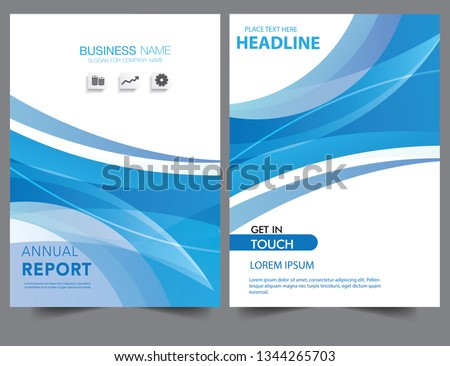 Abstract brochure blue wavy wave gradient modern annual report flyer Brochure leaflet, the brochure cover, magazine advertising. cover with an abstract background. vector template layout of brochure