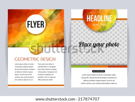 Abstract brochure design templates Modern back and front flyer backgrounds Geometric design Vector illustration