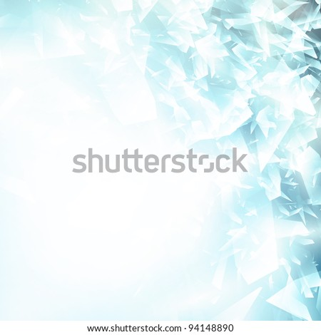 Abstract broken glass or blue ice background, copyspace for your text