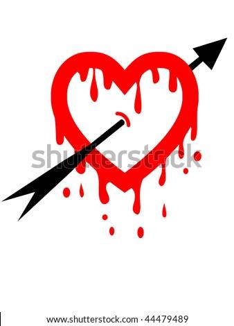 abstract broken heart with arrow