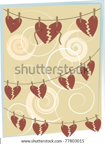 Abstract broken hearts hang from clothespins background illustration