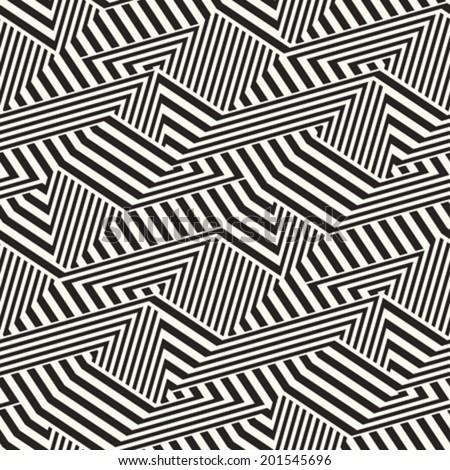 Abstract broken striped textured geometric seamless pattern. Vector.