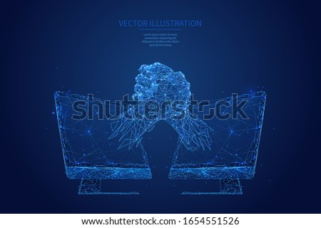 Abstract brothers handshake. Two hands in handshake on pc monitors background. Online best deal or digital business. Low poly wireframe with polygons, particles, lines and connected dots. Freelance