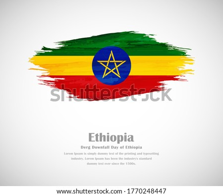 Abstract brush painted grunge flag of Ethiopia country for derg downfall day of Ethiopia Stockfoto ©