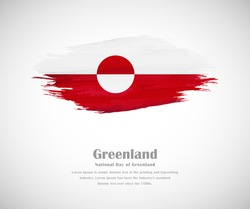 Abstract brush painted grunge flag of Greenland country for national day of Greenland