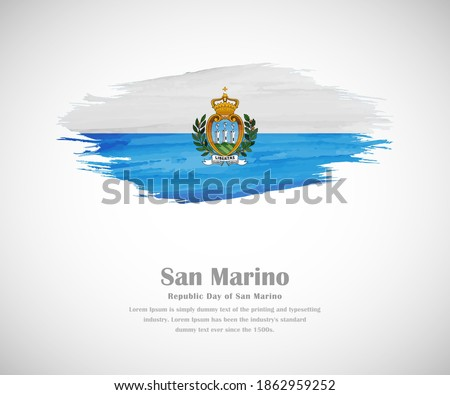 Abstract brush painted grunge flag of San Marino country for republic day of San Marino Foto stock ©