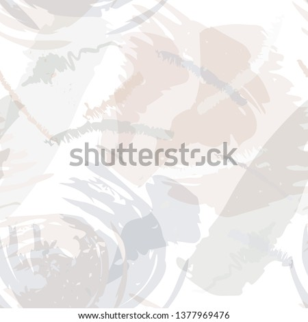 Abstract brush storkes, splatters and crayon marks background. Vector seamless creative pattern with hand painted shapes in neutral light colors. Photo stock ©