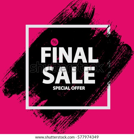 stock-vector-abstract-brush-stroke-designs-final-sale-banner-in-black-pink-and-white-texture-with-frame-vector