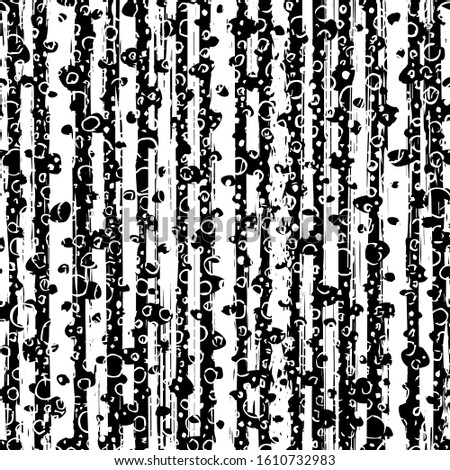 Abstract brush texture. Hand drawn black and white background. Can use for effect overlay. Grunge seamless pattern. Graphic backdrop. Repeating contemporary composition monochrome tileable design