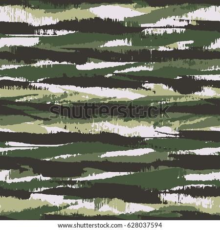 Abstract brushstrokes textured irregular striped camouflage motif. Seamless pattern.