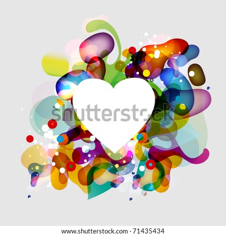 Abstract bubbles background with the heart