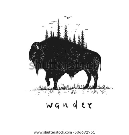 Abstract buffalo with forest on him. Vintage style.Vector illustration