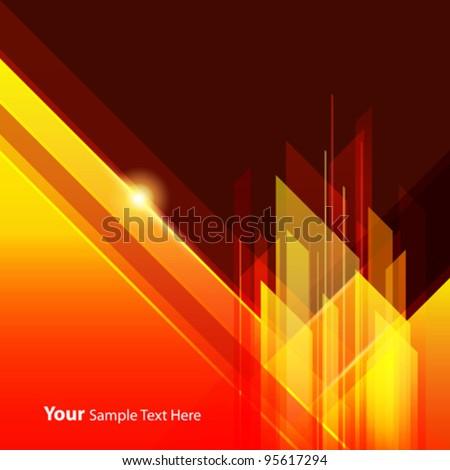 Abstract building design orange background, vector illustration