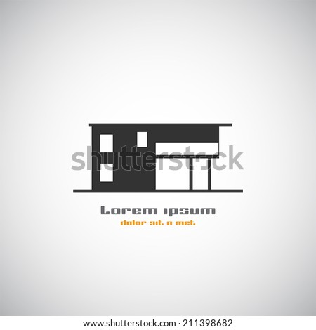 Abstract building silhouette real estate house logo for Modern house logo