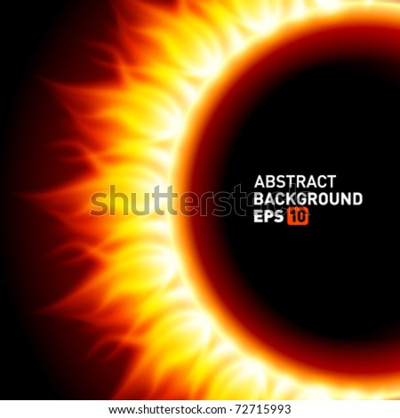 Abstract burning fire circle top view vector background. Eps 10.