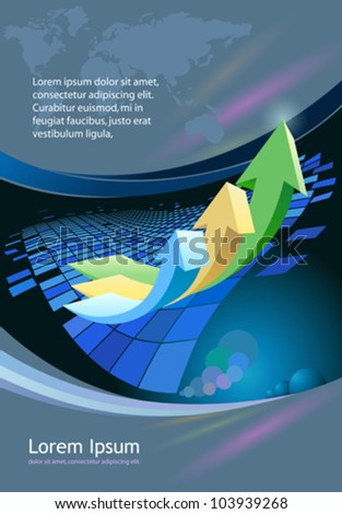 Abstract business arrow- brochure  background - stock vector