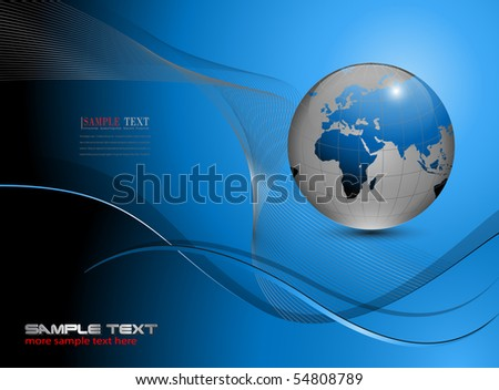 Abstract business background blue with earth globe.