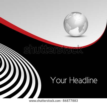 Abstract business background - globe with curved lines
