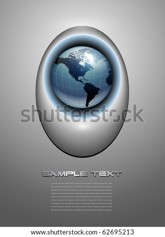 Abstract business background, grey with earth globe, vector.