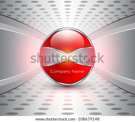 Abstract business background, red glossy sphere on grey.