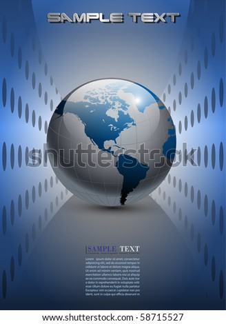 Abstract business background, silver blue with earth globe, vector.