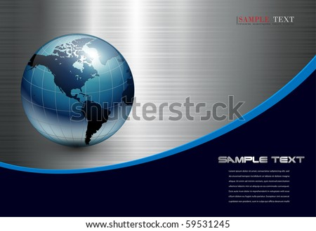 Abstract business background with blue earth world on silver metallic. - stock vector