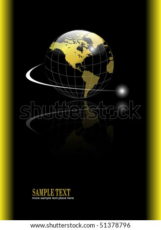 Abstract, business background with gold world globe over black background, vector.