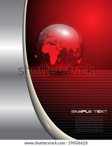 Abstract business background with red earth globe, vector.