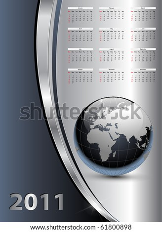 Abstract business background with 2011 year calendar, vector.