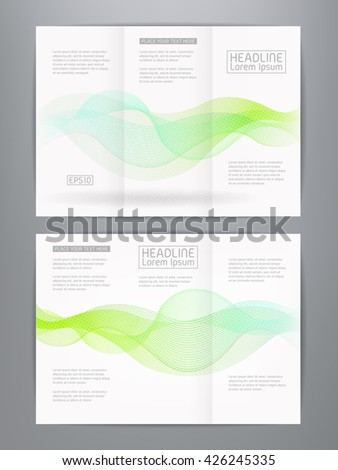 3 column brochure template - royalty free three column double sided vector 210321934