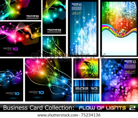 Rainbow business card download free vector art stock graphics abstract business card collection flow of lights 2 reheart Image collections