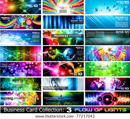 Abstract Business Card Collection Flow of lights Set 3