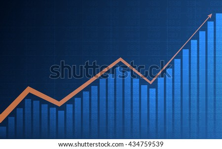 Abstract Business chart with arrow and uptrend line graph, bar chart and stock numbers in bull market on dark blue background (vector)