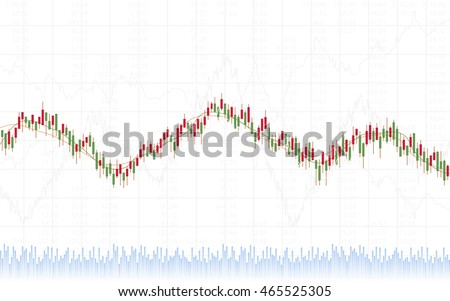 Abstract Business chart with trend line graph, candlestick chart and stock numbers in sideways market on white color background (vector)