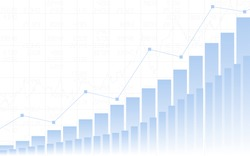 Abstract Business chart with up trend line graph, bar chart and stock numbers in bull market on white color background (vector)