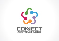 Abstract business company logo. Corporate identity design element. Social media, internet, people connect logotype idea. Star group, network integrate, technology interaction concept. Vector icon