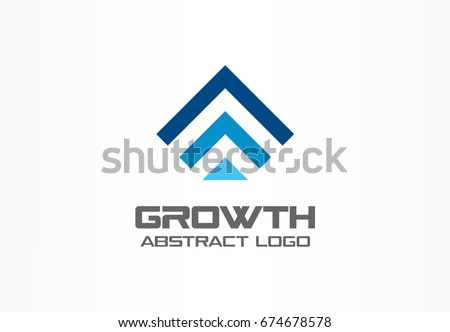 Abstract business company logo. Corporate identity design element. Technology, market, bank logotype idea. Connected arrow up, growth, progress integrate and success concept. Vector interaction icon