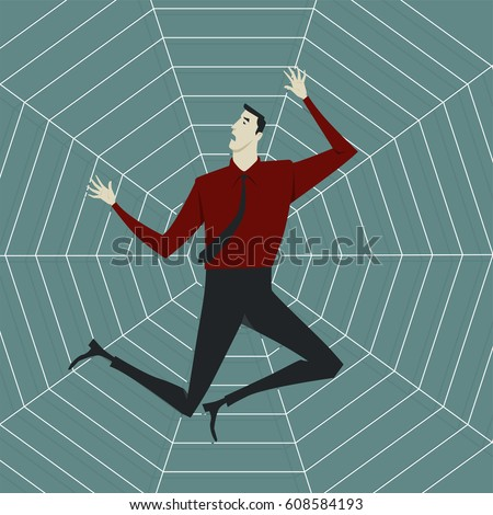 Abstract business concept of despondent, The man be trapped on cobweb. Vector illustration flat style.