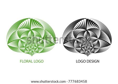 Abstract business logo. Creative halftone stripes geometric symbol. Vector modern design logo template.