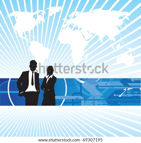 abstract business people on a world background