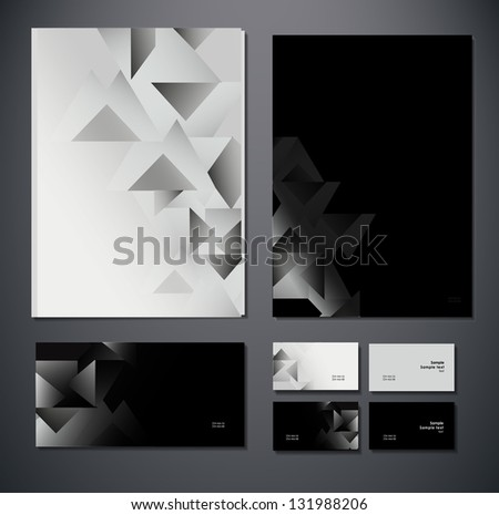 Abstract business set. Corporate identity templates: blank, business cards, badge, envelope. . Vector illustration